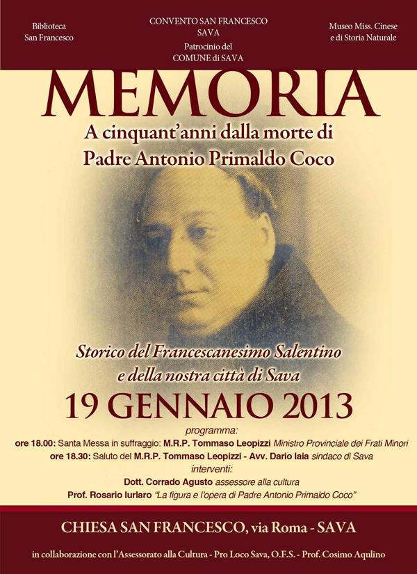 Memoria a 50 anni dalla morte di p. Coco